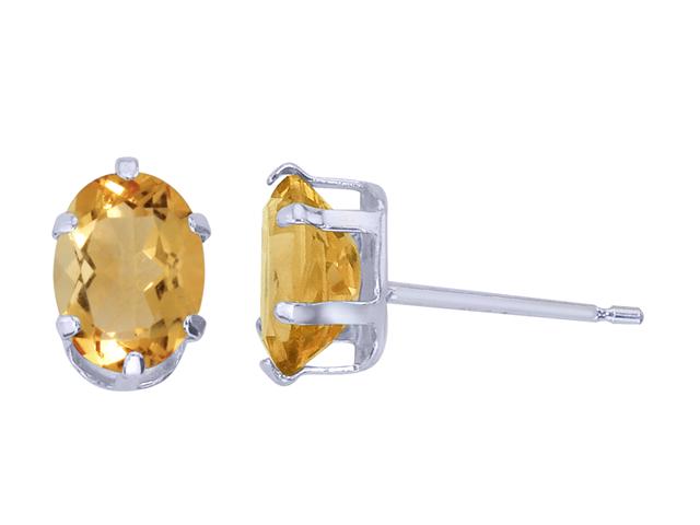 Sterling Silver Oval Citrine Stud Earrings