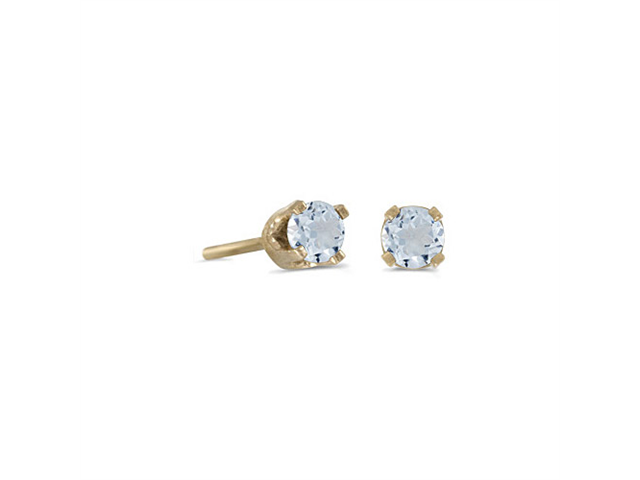 3 mm Petite Round Genuine Aquamarine Stud Earrings in 14k Yellow Gold
