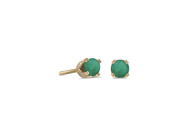 3 mm Petite Round Genuine Emerald Stud Earrings in 14k Yellow Gold