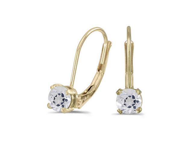 14k Yellow Gold Round White Topaz Lever-back Earrings