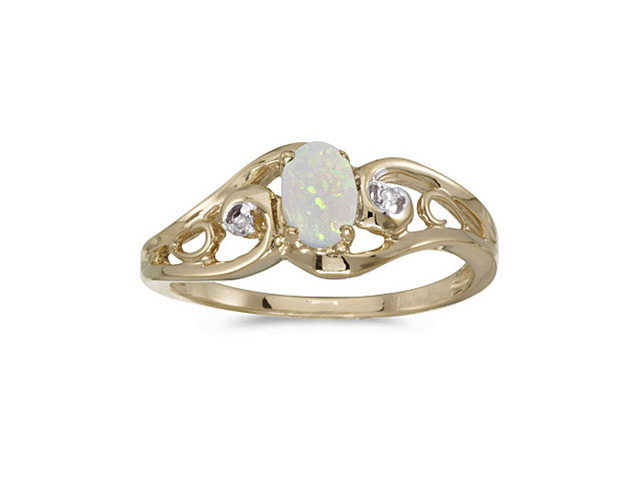 14k Yellow Gold Oval Opal And Diamond Ring (Size 5)