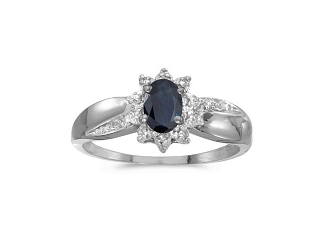 10k White Gold Oval Sapphire And Diamond Ring (Size 4.5)