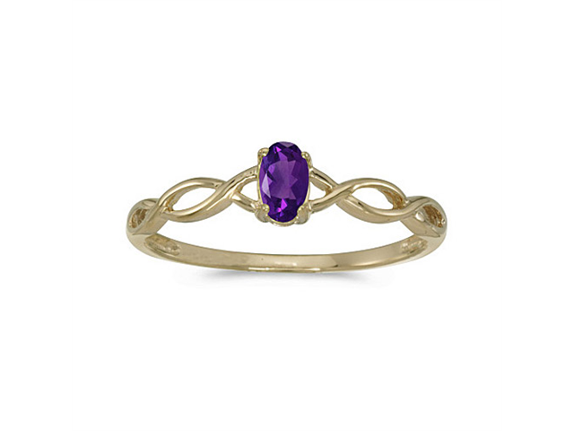 14k Yellow Gold Oval Amethyst Ring (Size 7)