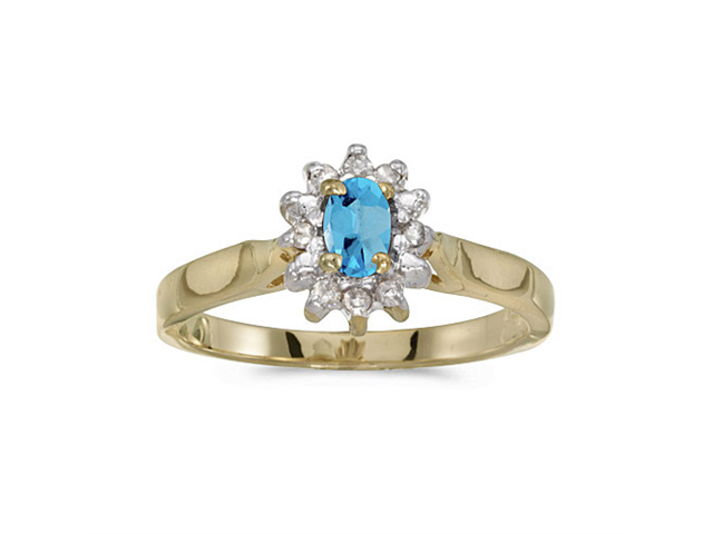14k Yellow Gold Oval Blue Topaz And Diamond Ring (Size 9)