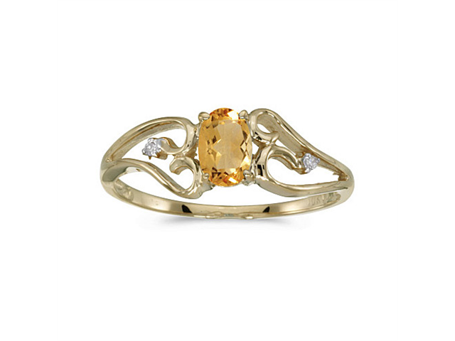 10k Yellow Gold Oval Citrine And Diamond Ring (Size 8)