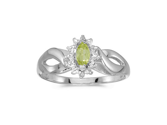 10k White Gold Marquise Peridot And Diamond Ring (Size 6.5)
