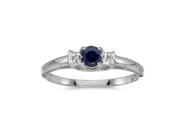 10k White Gold Round Sapphire And Diamond Ring (Size 7.5)