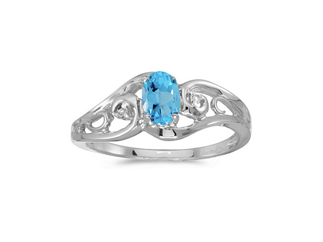 14k White Gold Oval Blue Topaz And Diamond Ring (Size 8)