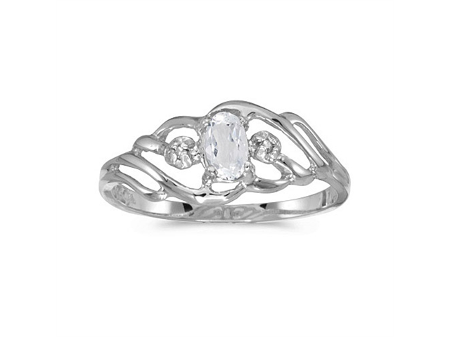 10k White Gold Oval White Topaz And Diamond Ring (Size 5)