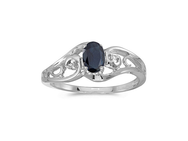 14k White Gold Oval Sapphire And Diamond Ring (Size 9)