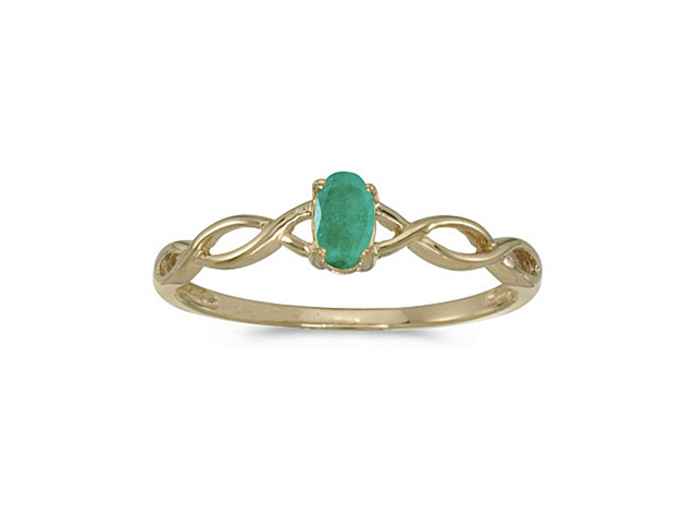 10k Yellow Gold Oval Emerald Ring (Size 6)