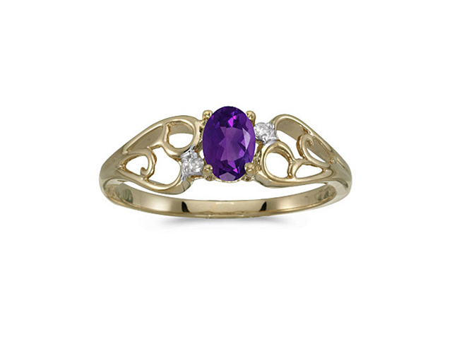 10k Yellow Gold Oval Amethyst And Diamond Ring (Size 9.5)
