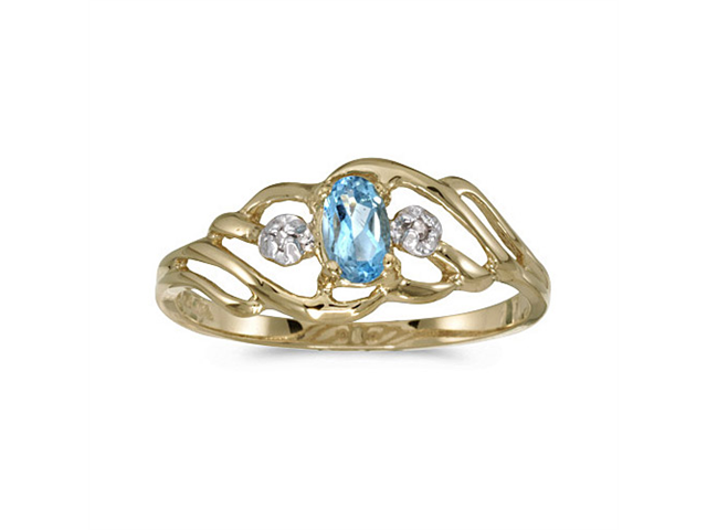 10k Yellow Gold Oval Blue Topaz And Diamond Ring (Size 5)