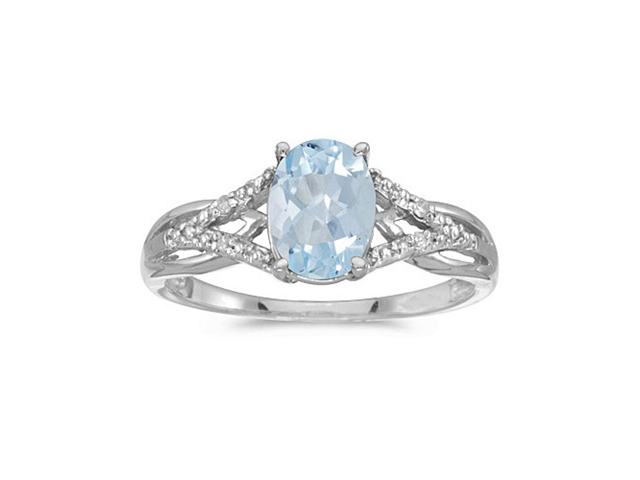 14k White Gold Oval Aquamarine And Diamond Ring (Size 6.5)