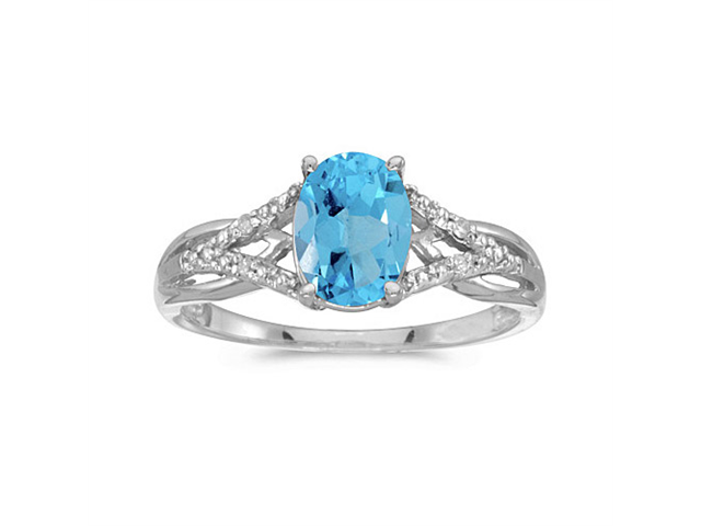 14k White Gold Oval Blue Topaz And Diamond Ring (Size 7)