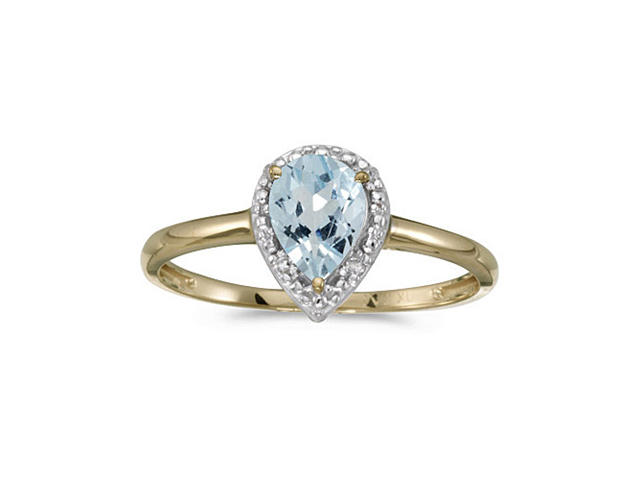 14k Yellow Gold Pear Aquamarine And Diamond Ring (Size 10)