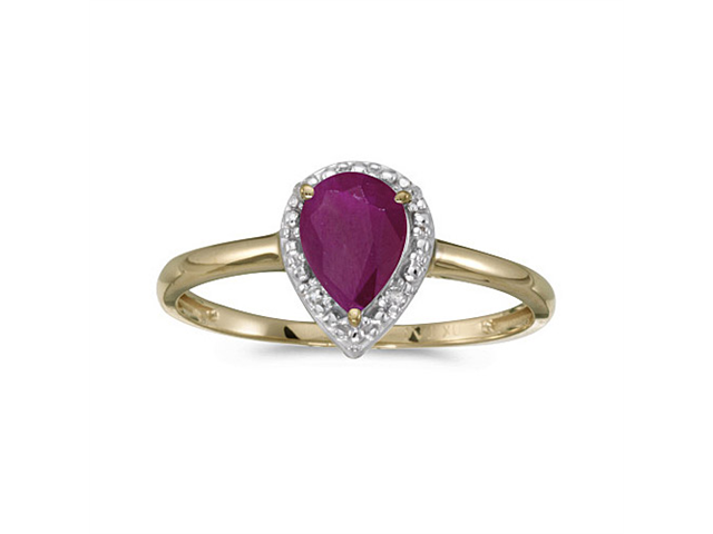 14k Yellow Gold Pear Ruby And Diamond Ring (Size 8)