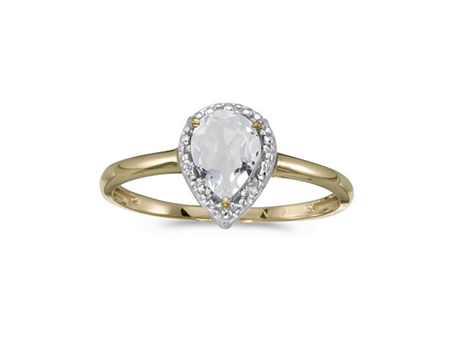 14k Yellow Gold Pear White Topaz And Diamond Ring (Size 5.5)