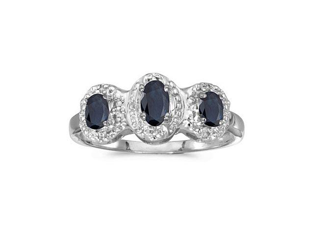 10k White Gold Oval Sapphire And Diamond Three Stone Ring (Size 9)