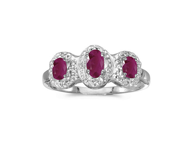 10k White Gold Oval Ruby And Diamond Three Stone Ring (Size 8.5)