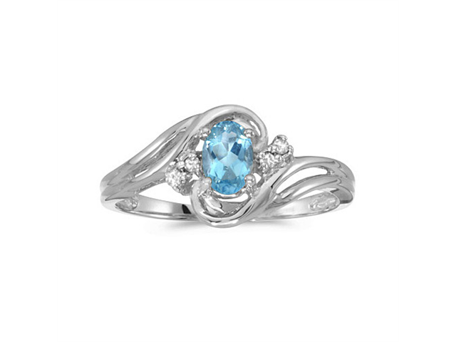 14k White Gold Oval Blue Topaz And Diamond Ring (Size 4.5)