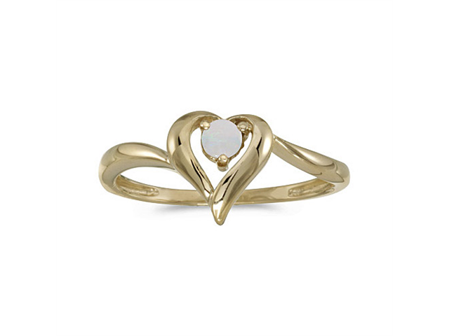 14k Yellow Gold Round Opal Heart Ring (Size 5.5)