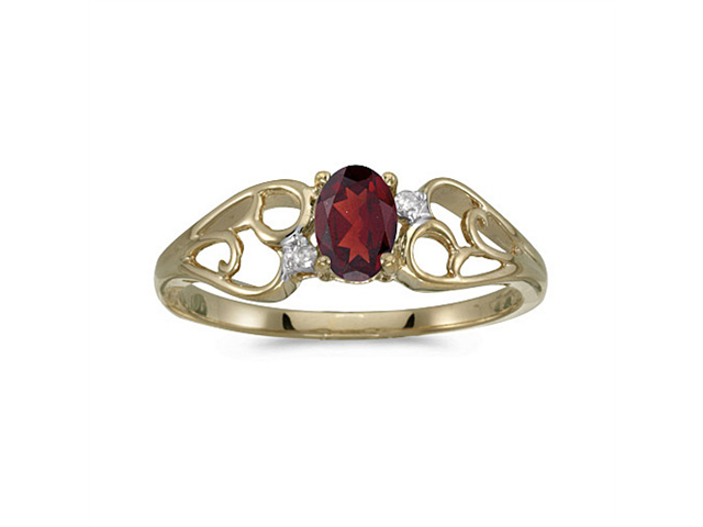 14k Yellow Gold Oval Garnet And Diamond Ring (Size 5)
