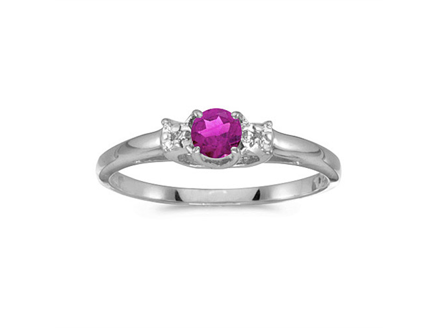 14k White Gold Round Pink Topaz And Diamond Ring (Size 6)
