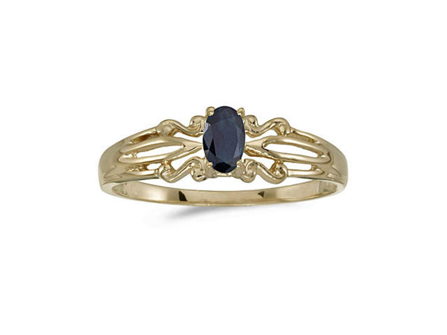 14k Yellow Gold Oval Sapphire Ring (Size 7.5)