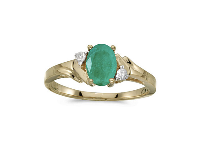 14k Yellow Gold Oval Emerald And Diamond Ring (Size 10.5)
