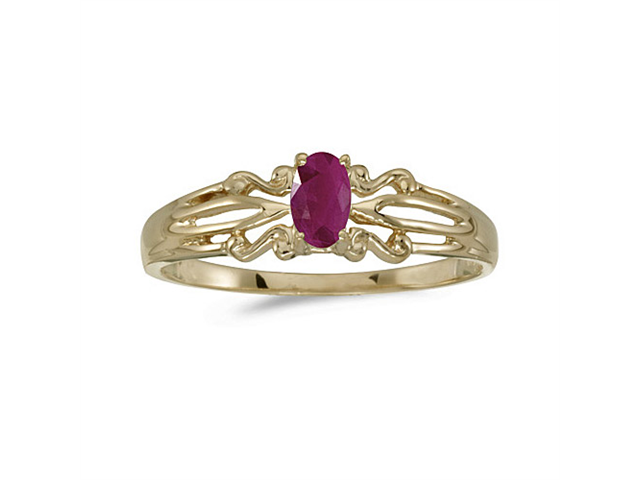 14k Yellow Gold Oval Ruby Ring (Size 8.5)