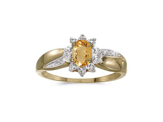 10k Yellow Gold Oval Citrine And Diamond Ring (Size 6)