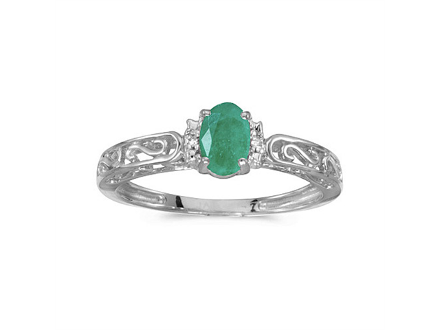14k White Gold Oval Emerald And Diamond Ring (Size 6)