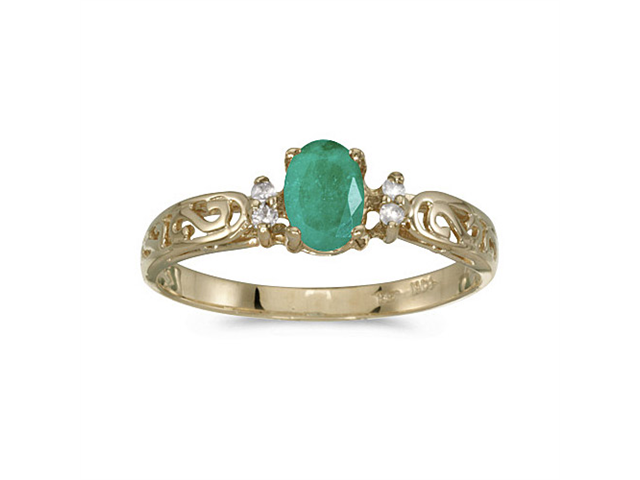 14k Yellow Gold Oval Emerald And Diamond Filagree Ring (Size 9.5)