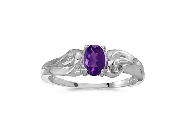 14k White Gold Oval Amethyst Ring (Size 5)