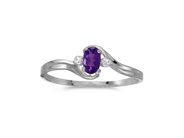 10k White Gold Oval Amethyst And Diamond Ring (Size 8.5)