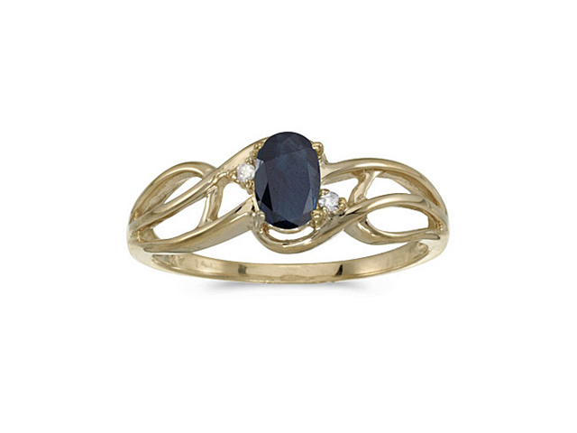 10k Yellow Gold Oval Sapphire And Diamond Curve Ring (Size 7.5)