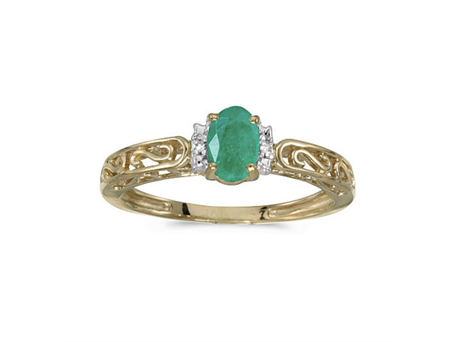 14k Yellow Gold Oval Emerald And Diamond Ring (Size 4.5)