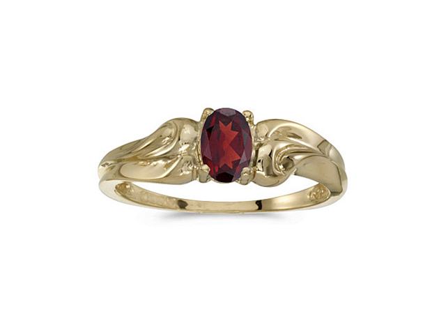 14k Yellow Gold Oval Garnet Ring (Size 6)
