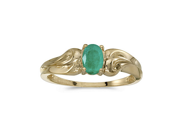 14k Yellow Gold Oval Emerald Ring (Size 6.5)