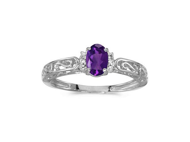 14k White Gold Oval Amethyst And Diamond Ring (Size 7.5)