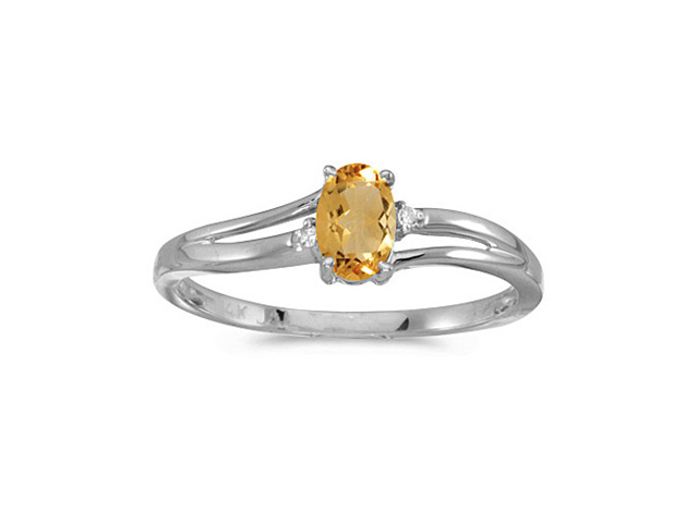 14k White Gold Oval Citrine And Diamond Ring (Size 9.5)