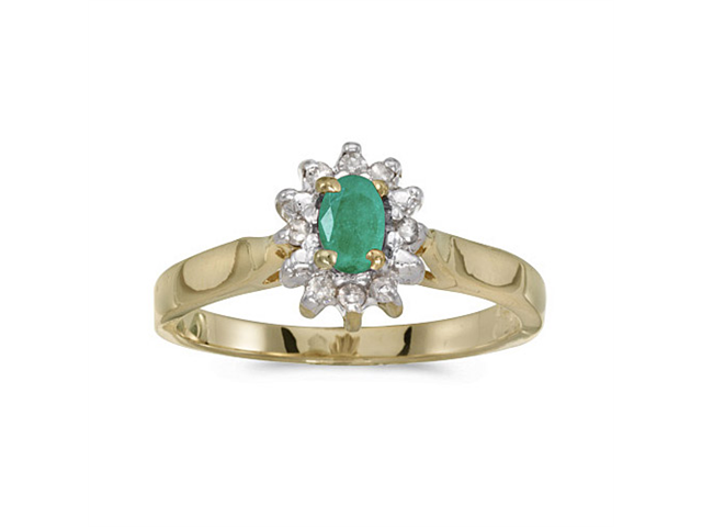 10k Yellow Gold Oval Emerald And Diamond Ring (Size 5)