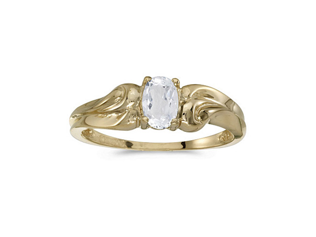 14k Yellow Gold Oval White Topaz Ring (Size 5)