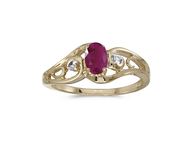 10k Yellow Gold Oval Ruby And Diamond Ring (Size 7.5)