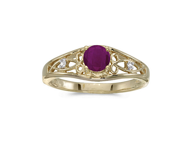 14k Yellow Gold Round Ruby And Diamond Ring (Size 9)