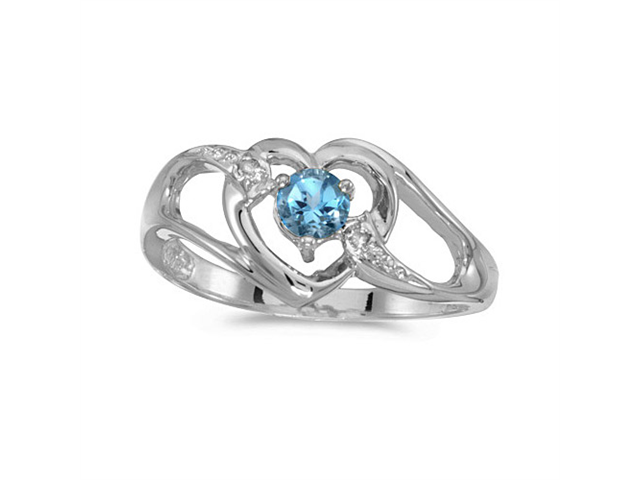 14k White Gold Round Blue Topaz And Diamond Heart Ring (Size 5)