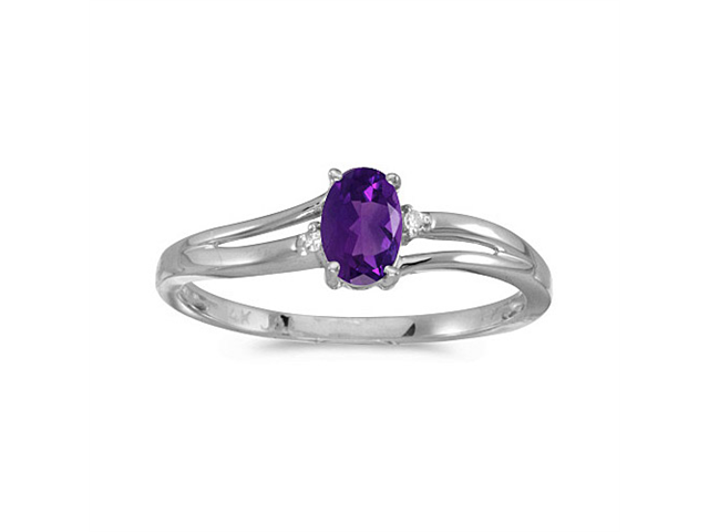 14k White Gold Oval Amethyst And Diamond Ring (Size 5)