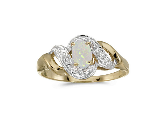 10k Yellow Gold Oval Opal And Diamond Swirl Ring (Size 9.5)