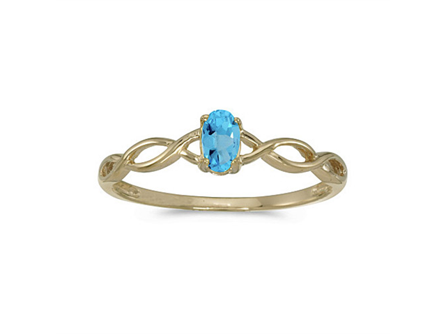 14k Yellow Gold Oval Blue Topaz Ring (Size 7.5)